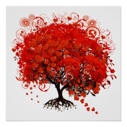 arbre rouge avec la chute de feuille de coeurs poster zazzle. Black Bedroom Furniture Sets. Home Design Ideas