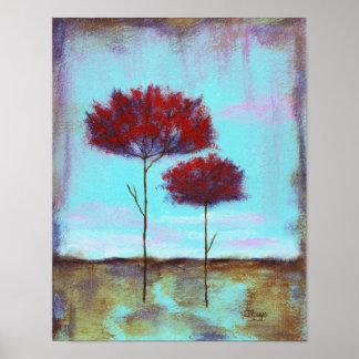 Arbres de rouge de paysage d'art aimé et abstrait