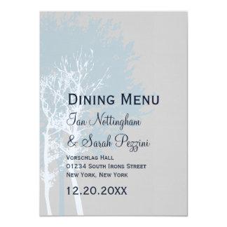 Arbres d'hiver dinant le menu carton d'invitation  11,43 cm x 15,87 cm