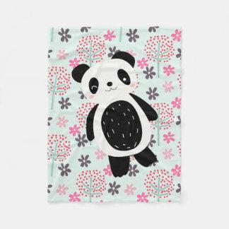Arbres, fleurs, et ours panda