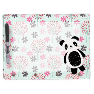 Arbres, fleurs, et ours panda tableau blanc effaçable à sec