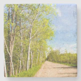 arbres sur la route dessous-de-verre en pierre