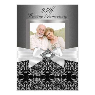 Arc argenté et 25ème anniversaire de mariage carton d'invitation  12,7 cm x 17,78 cm