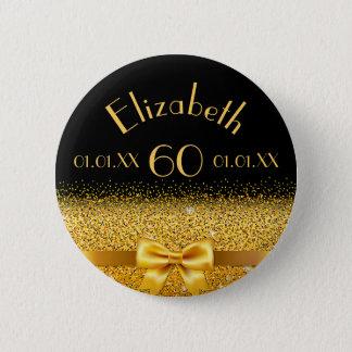 arc élégant d'or de soixantième anniversaire avec badge rond 5 cm