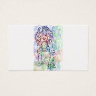 Arc-en-ciel pour aquarelle squelettique de tigre carte de visite standard