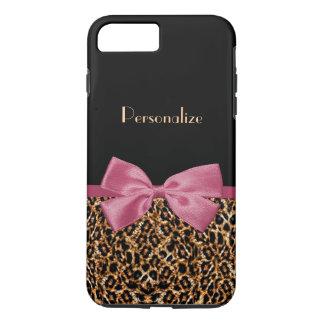 Arc mauve d'or d'empreinte de léopard de luxe de coque iPhone 8 plus/7 plus
