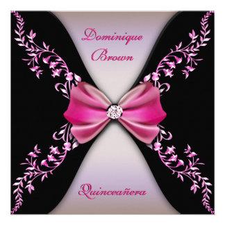 Arc rose élégant Quinceanera de diamant noir Invitations Personnalisées
