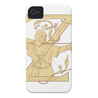 Archer médiéval visant l'aspiration de la lettre Z Coques Case-Mate iPhone 4