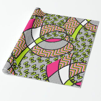Arcs au néon, pois, et zigzag de motif génial papier cadeau