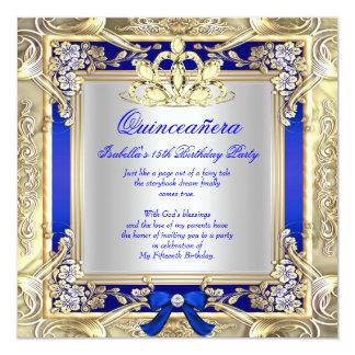 Argent 2 de bleu royal de princesse Quinceanera Carton D'invitation 13,33 Cm
