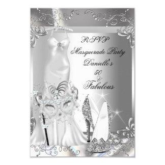 Argent 50 fabuleux de partie de mascarade de RSVP Carton D'invitation 8,89 Cm X 12,70 Cm