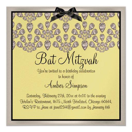 Argent/de jaune invitation de bat mitzvah diamants