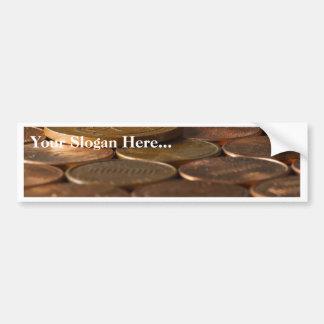 Argent de pièces de monnaie de penny de penny autocollant de voiture