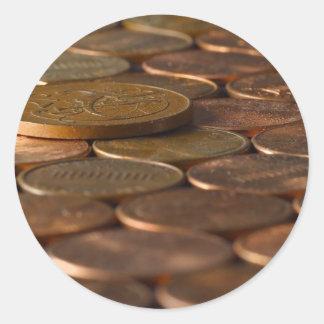 Argent de pièces de monnaie de penny de penny sticker rond