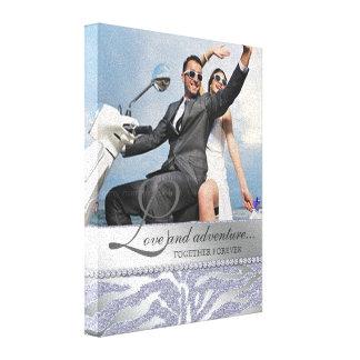 Argent de toile de photo de fiançailles de mariage toiles