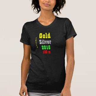 Argent d'or de la Jamaïque 100 T-shirts de mètre
