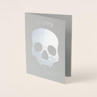 Argent élégant de charme de crâne de Halloween Foil Card