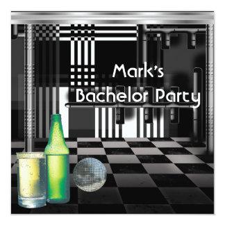 Argent noir et blanc des boissons d'hommes carton d'invitation  13,33 cm