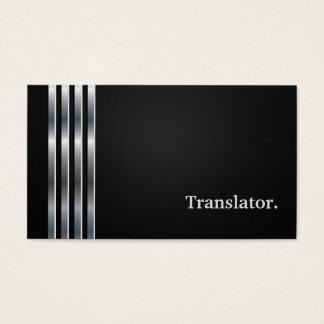 Argent noir professionnel de traducteur cartes de visite