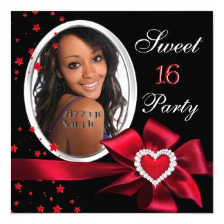 Argent rouge de photo de coeur de fête carton d'invitation  13,33 cm