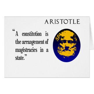 Aristote sur la carte de voeux de constitution