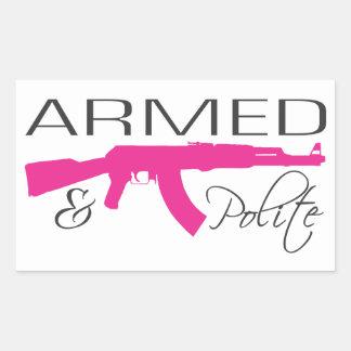 Armé et poli, autocollants de rectangle