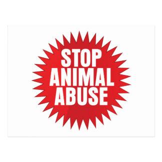 Arrêtez l'abus animal carte postale
