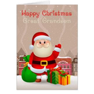 Arrière-petit-fils Père Noël avec la carte de sac