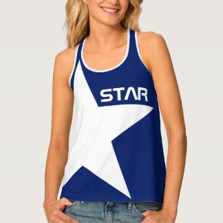 Arrière - plan bleu d'étoile blanche débardeur