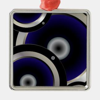 Arrière - plan de haut-parleur de musique ornement carré argenté