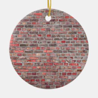 arrière - plan de mur de briques - pierre vintage ornement rond en céramique