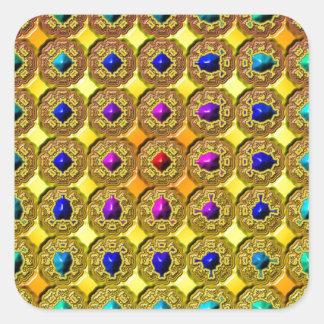 Arrière - plan de pierre gemme sticker carré