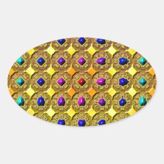 Arrière - plan de pierre gemme sticker ovale