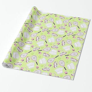 Arrière - plan de vert de motif de fille de tennis papier cadeau