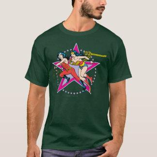 Arrière - plan d'étoile de femme de merveille t-shirt
