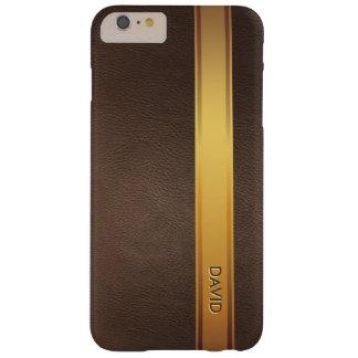 Arrière - plan en cuir nommé fait sur commande de coque barely there iPhone 6 plus