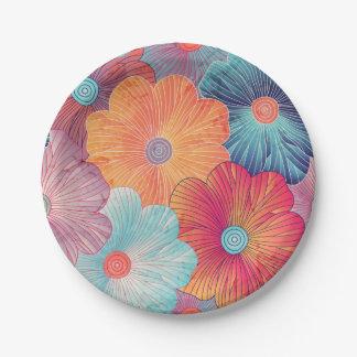 Arrière - plan floral artistique de grandes fleurs assiettes en papier