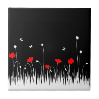 Arrière - plan noir de pavots rouges petit carreau carré