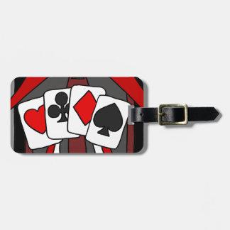 Art abstrait artistique de cartes de jeu étiquette à bagage