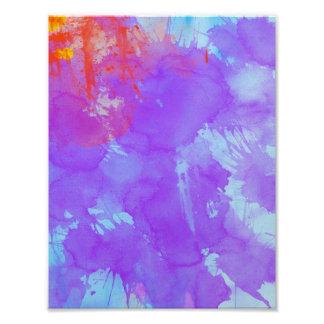 Art abstrait d'aquarelle violet, encre bleue, photos sur toile