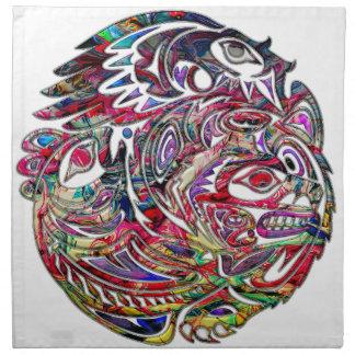 Art abstrait de tribal de basse et d'ours d'Eagle Serviettes En Tissus