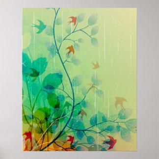 Art abstrait floral de ressort moderne