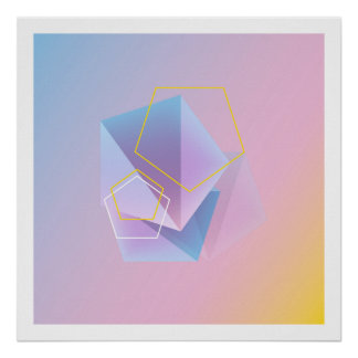 Art abstrait géométrique moderne poster
