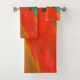Art abstrait peignant le vert orange rouge d'or