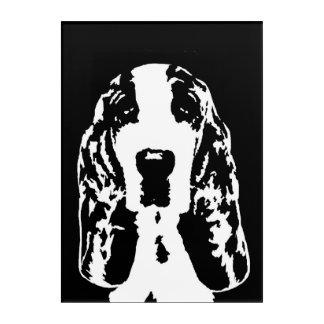 Art acrylique noir et blanc de Basset Hound de mur