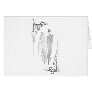 Art argenté de jeunes mariés carte de vœux