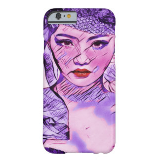 Art asiatique de portrait d'aquarelle d'abrégé sur coque iPhone 6 barely there