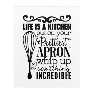 Art blanc noir de mur d'art de mot de cuisine