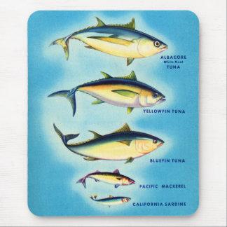 Art bleu de thons d'aileron de rétros poissons tapis de souris