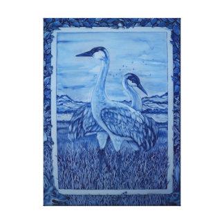Art bleu et blanc de toile de rivière de faune de